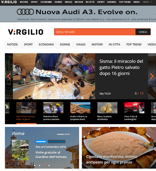 LA NUOVA HOME PAGE VIRGILIO SEGUE I TREND IN RETE