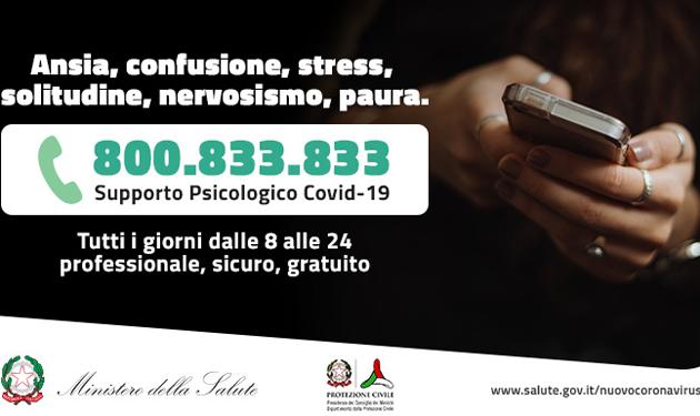 Ore 18. Il numero verde di supporto psicologico 800.833.833