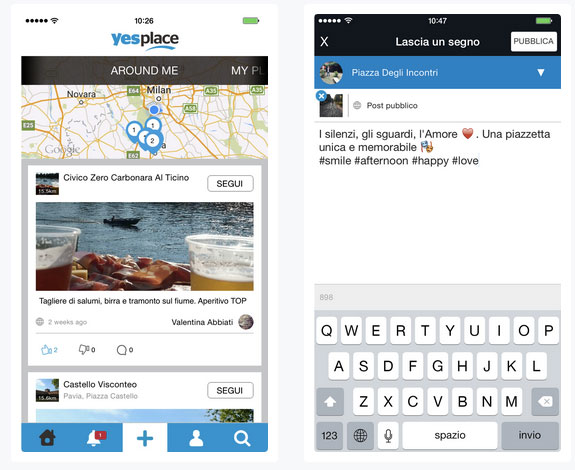 Yesplace, the social network of places and 100% made in Italy