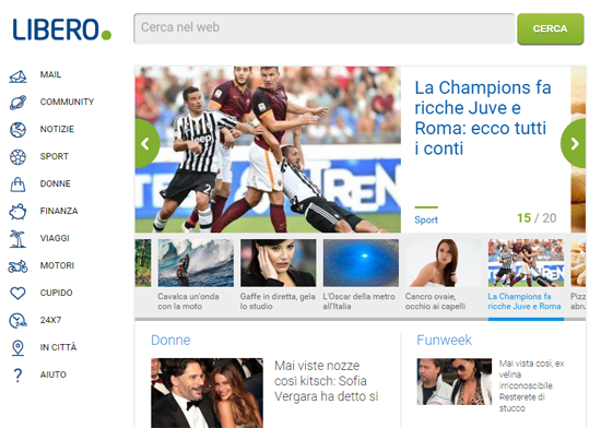 20 YEARS OF LIBERO: THE PORTAL LAUNCHES ITS NEW HOME PAGE