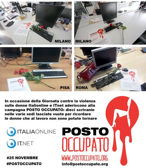 """25 novembre: Italiaonline a fianco delle donne con """"Posto occupato"""""""
