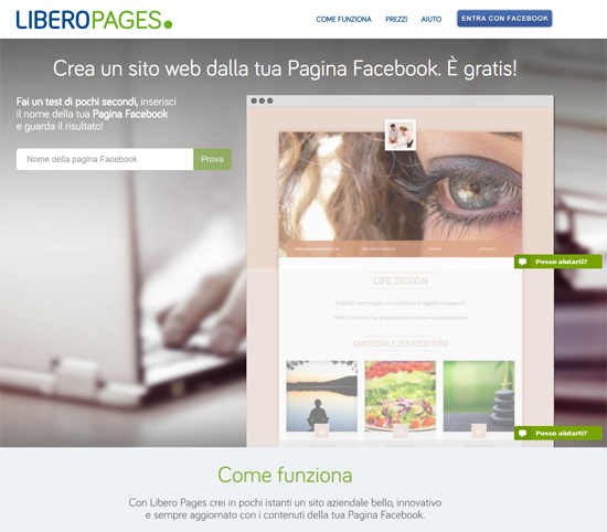 LIBERO PAGES TRANSFORMS A FAN PAGE INTO A NEW WEBSITE