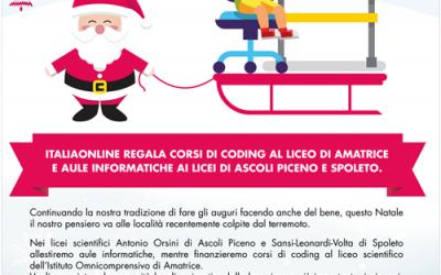 DONANDO SI IMPARA: ITALIAONLINE A SOSTEGNO DEI LICEI NELLE AREE COLPITE DAL TERREMOTO