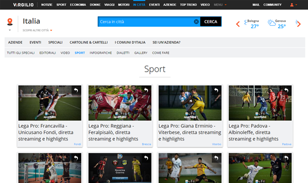ITALIAONLINE AND SPORTUBE: SPORTS MINUTE BY MINUTE